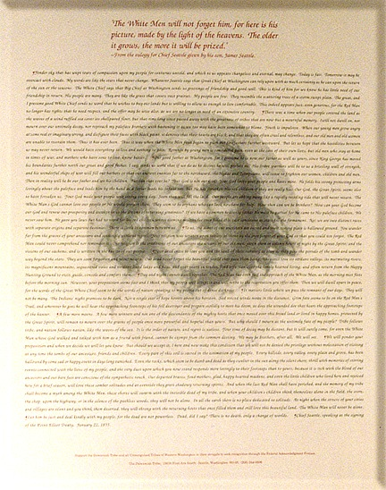 chief seattles oration to governor stevens There is a written record of a later meeting between governor stevens and chief seattle  chief seattle's speech edited by stevens chief seattle and chief.